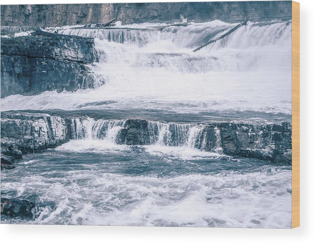 Falls Wood Print featuring the photograph Kootenai River Water Falls In Montana Mountains by Alex Grichenko