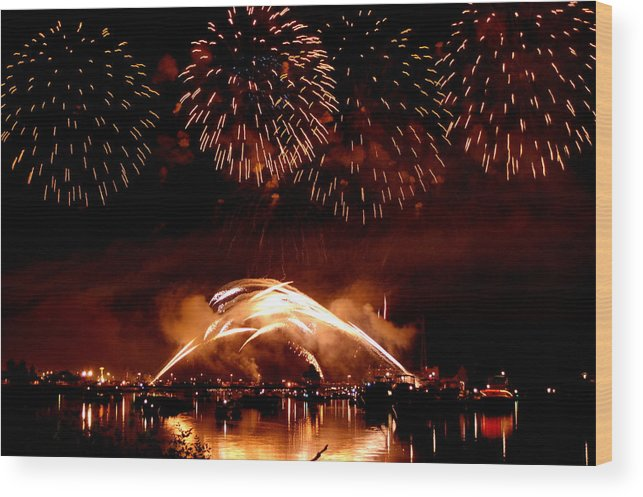 Fireworks Wood Print featuring the photograph 2008 Fireworks 4 by Jennifer Englehardt