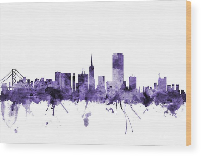 San Francisco Wood Print featuring the digital art San Francisco City Skyline by Michael Tompsett