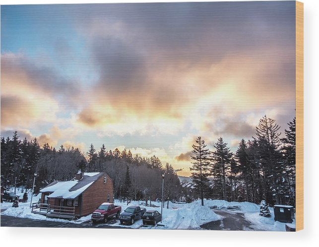 Beautiful Wood Print featuring the photograph Beautiful Sunrise Over Horizon On Snowshoe Mountain West Virgini by Alex Grichenko