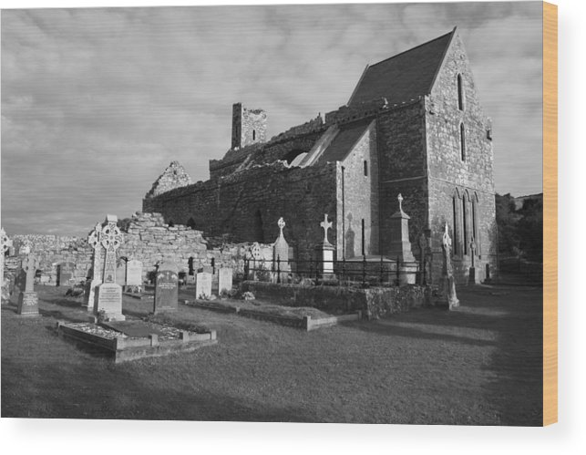 Corcomroe Abbey Wood Print featuring the photograph Corcomroe Abbey by John Quinn