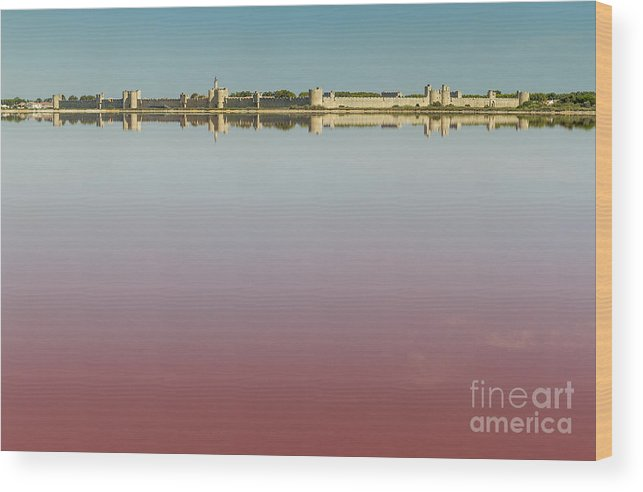 Panoramic Wood Print featuring the photograph Panoramic View Of Aigues-mortes From Salt Flats - Camargue - France by Pier Giorgio Mariani