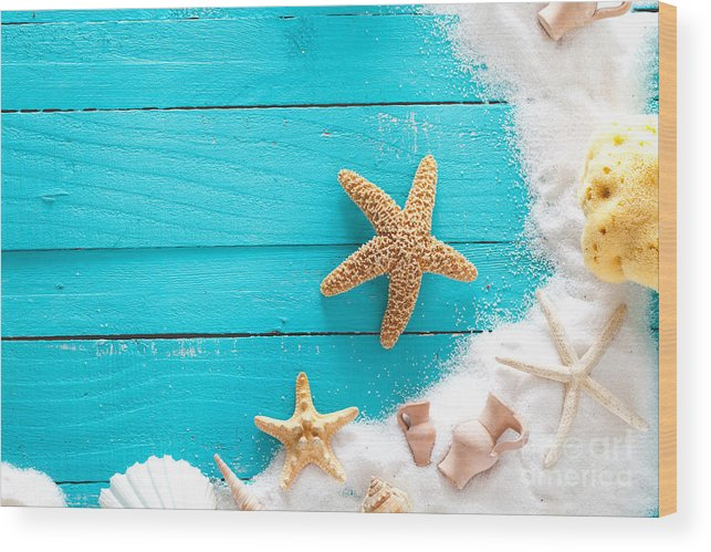 Sea Wood Print featuring the photograph Summer Background On Wood by Mythja Photography