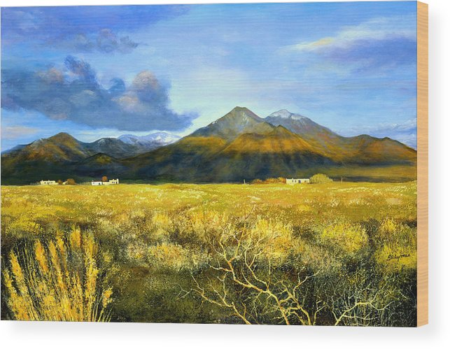 Landscape Wood Print featuring the painting Taos Mountain by Brooke Lyman