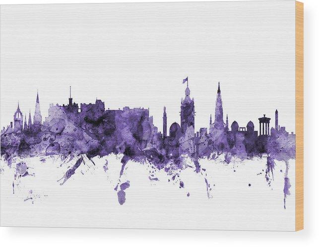City Wood Print featuring the digital art Edinburgh Scotland Skyline by Michael Tompsett