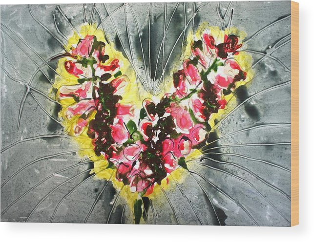 Flowers Wood Print featuring the painting Divine Blooms by Baljit Chadha