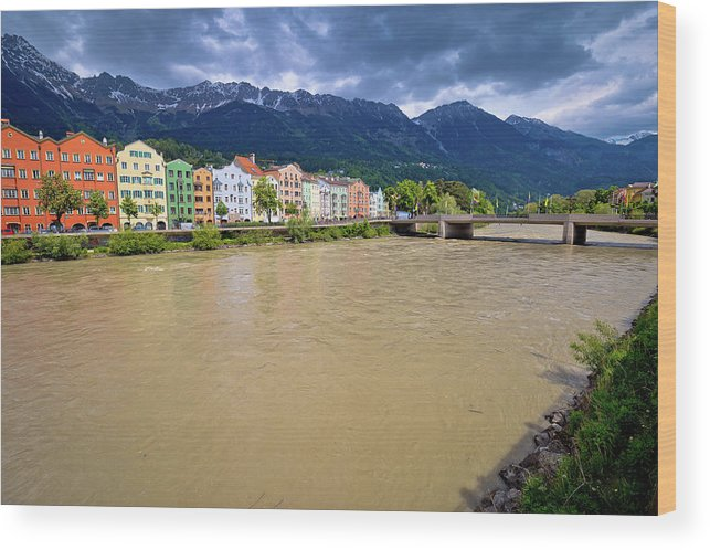 Inn Wood Print featuring the photograph City Of Innsbruck Colorful Inn River Waterfront Panorama by Brch Photography