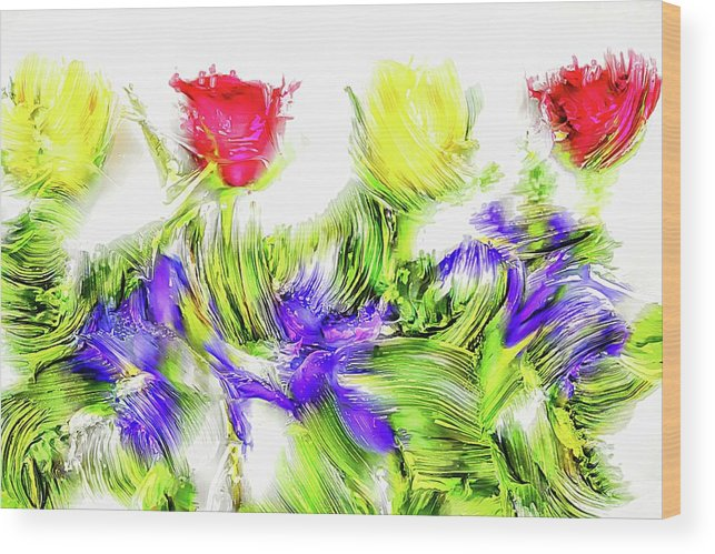 Assorted Wood Print featuring the digital art Flower Frame Border by Robert Chlopas