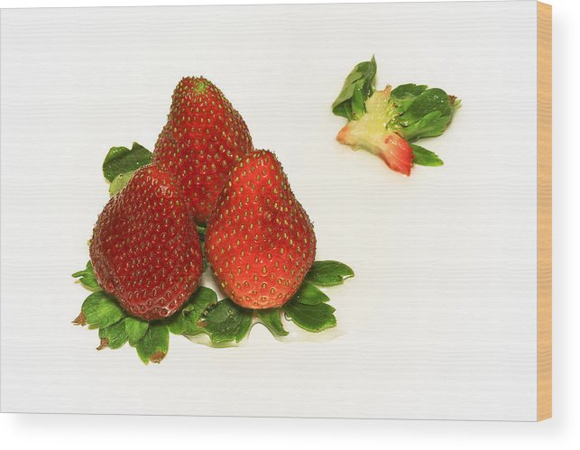 Strawberry Wood Print featuring the photograph 4... No... 3 Strawberries by Evelina Kremsdorf