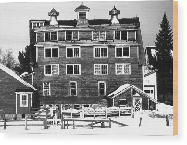 Wood Print featuring the photograph 4 Story Barn In Winter by Roger Soule
