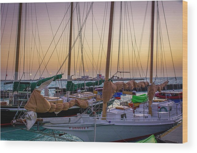Florida Wood Print featuring the photograph 4956- Key West Harbor At Sunset by David Lange