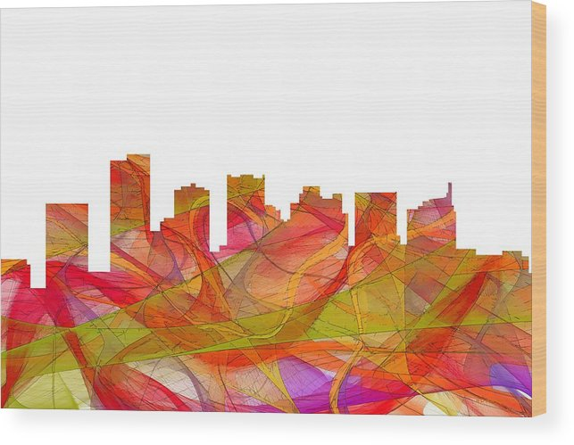 Scottsdale Arizona Skyline Wood Print featuring the digital art Scottsdale Arizona Skyline by Marlene Watson