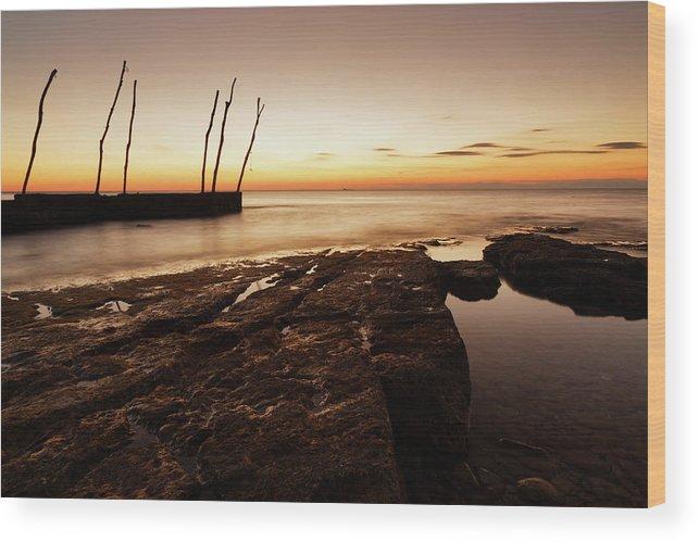 Ba�anija Wood Print featuring the photograph Sunset At Basanija by Ian Middleton