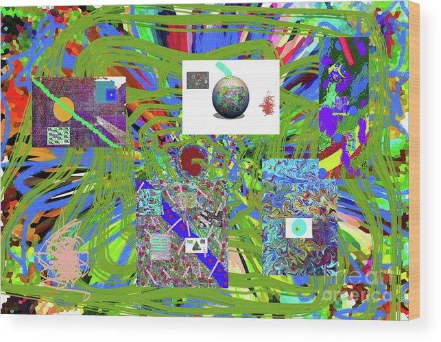Walter Paul Bebirian Wood Print featuring the digital art 7-25-2015abcdefghijklmno by Walter Paul Bebirian