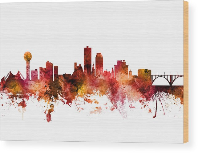 United States Wood Print featuring the digital art Knoxville Tennessee Skyline by Michael Tompsett