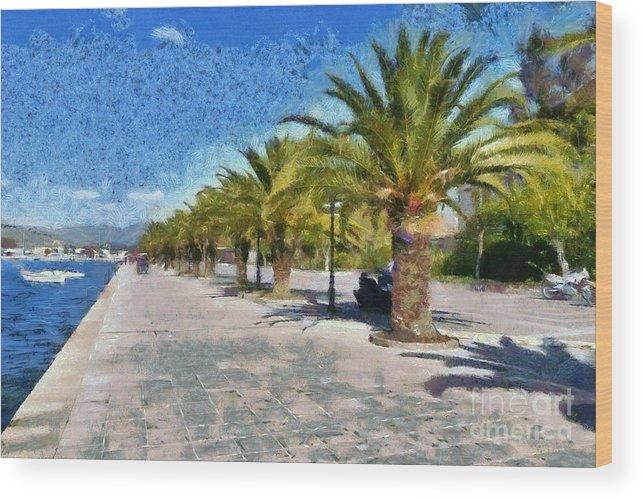Nafplio; Nafplion; Old; City; Town; Peloponnesus; Peloponnese; Argolis; Argolida; Greece; Greek; Hellas; Europe; European; Vacation; Holidays; Touristic; Tourism; Travel; Trip; Voyage; Journey; Boat; Boats; Fish; Fishing; Sea; Tree; Trees; Palm; Palms; Seaside; Walkway; Sidewalk; Promenade; Paint; Paints; Painting; Paintings; Digital Wood Print featuring the painting Walkway In Nafplio Town by George Atsametakis