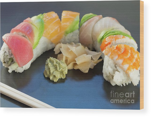 Rainbow Sushi Wood Print By Ezume Images
