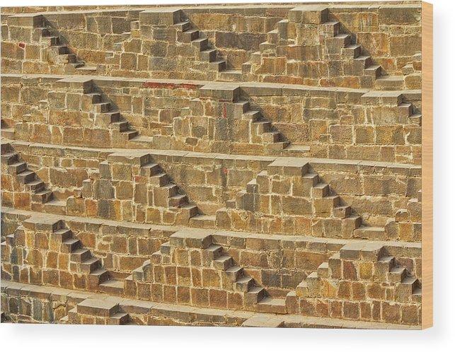 Abhaneri Wood Print featuring the photograph Steps At Chand Baori by Nila Newsom