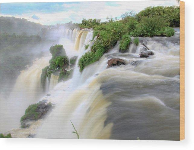 Landscape Wood Print featuring the photograph Iguazu Waterfalls by Alabama Valent