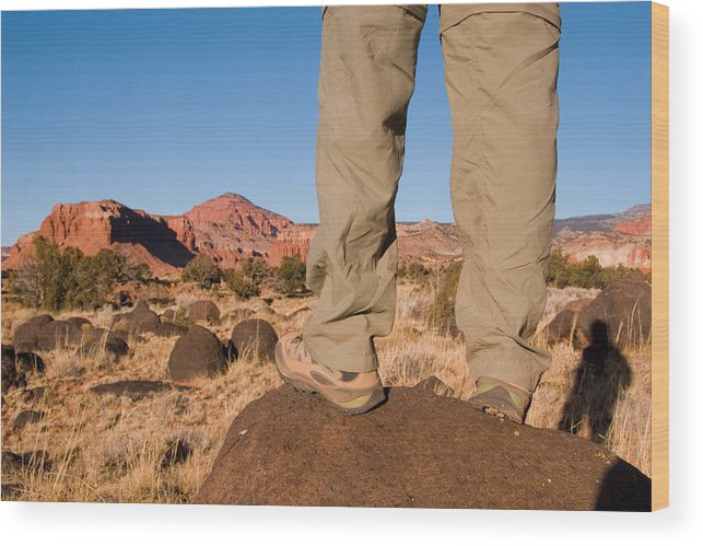Utah Wood Print featuring the photograph A Hiker Admires The Sunrise Light by Taylor S. Kennedy