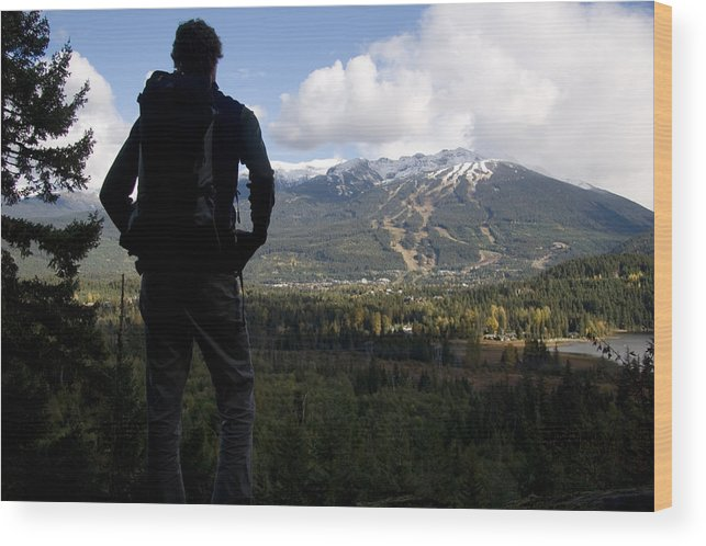 Forests Wood Print featuring the photograph A Man Admires The View Over The Valley by Taylor S. Kennedy