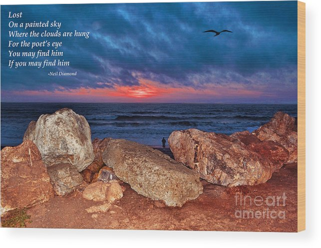 Sunset Wood Print featuring the photograph A Painted Sky For The Poet's Eye by Jim Fitzpatrick