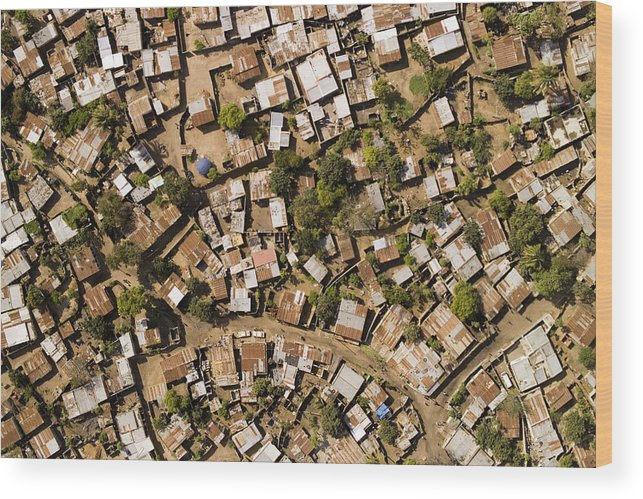 Africa Wood Print featuring the photograph A Poor Neighborhood In Urban Maputo by Michael Fay