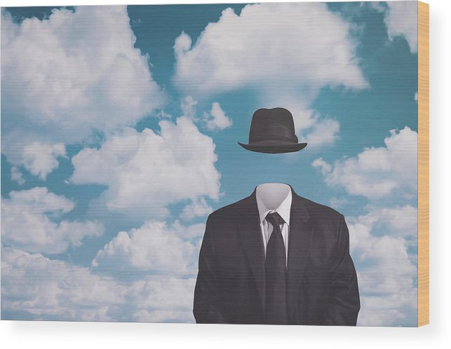 Rene Magritte Wood Print featuring the photograph A Riff On Magrittes The Pilgrim by Scott Norris