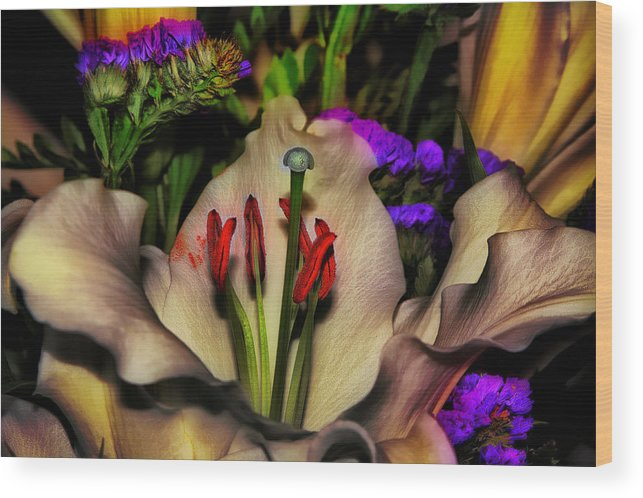 Lily Wood Print featuring the photograph A Touch Of Color by Gary Smith
