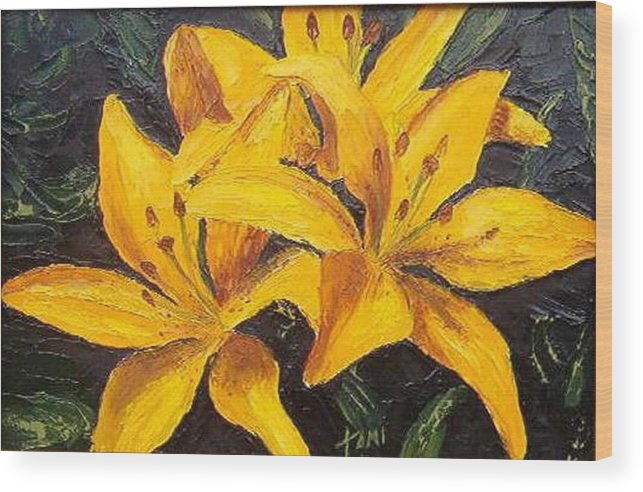 Wood Print featuring the painting A Touch Of Gold by Tami Booher