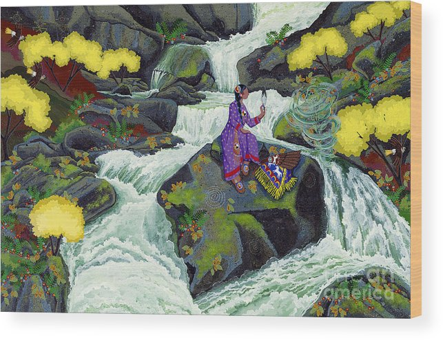 Native American Wood Print featuring the painting A Visit From Whirlwind by Chholing Taha