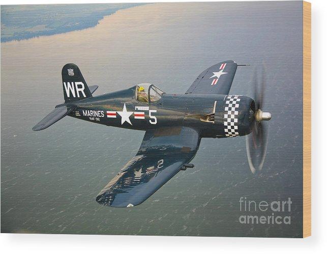 Transportation Wood Print featuring the photograph A Vought F4u-5 Corsair In Flight by Scott Germain