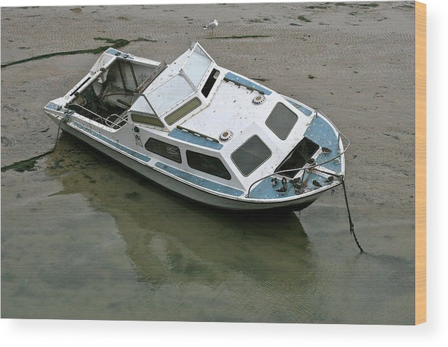Boat Wood Print featuring the photograph Abandoned Boat by Steve Swindells
