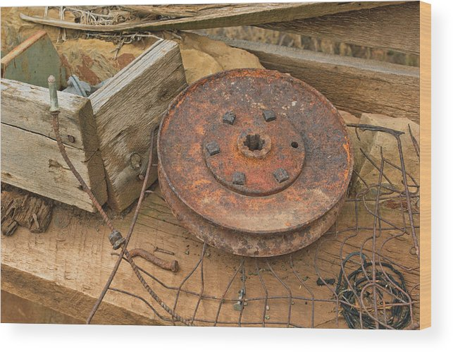 Ranch Wood Print featuring the photograph Abandoned Items On Shelf by Peter J Sucy