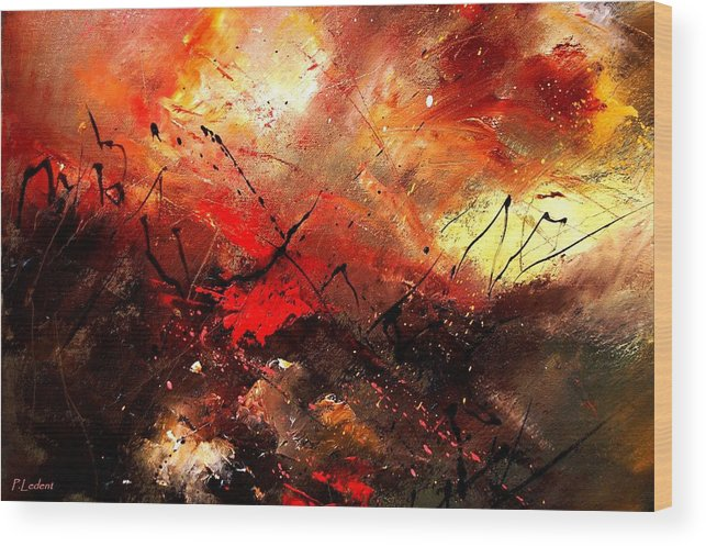 Abstract Wood Print featuring the painting Abstract 100202 by Pol Ledent