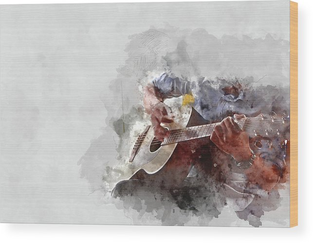 Drum Wood Print featuring the painting Abstract Beautiful Playing Guitar In The Foreground On Watercolor Painting Background. by Punnrong Lotulit