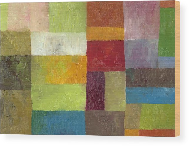 Abstract Wood Print featuring the painting Abstract Color Study Lv by Michelle Calkins