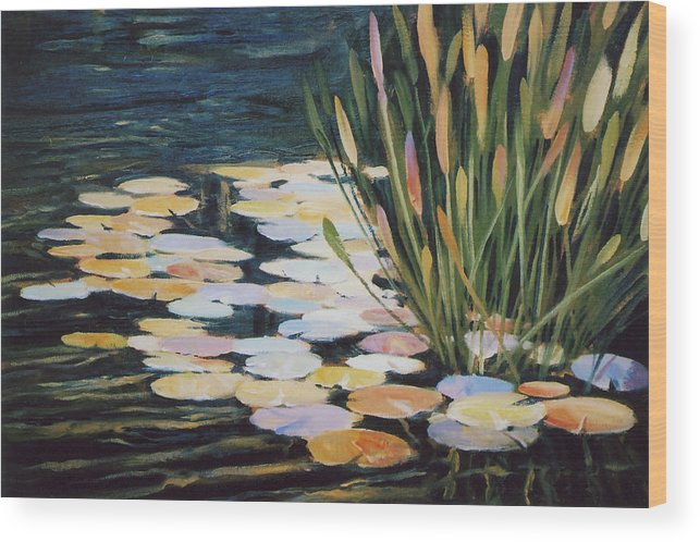Pond Wood Print featuring the painting Across The Pond by Ed Lucey