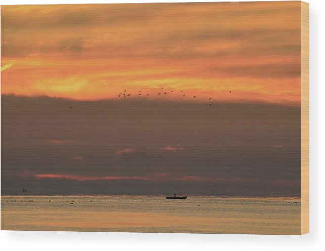 Abstract Wood Print featuring the photograph Activity On Lake Simcoe by Lyle Crump