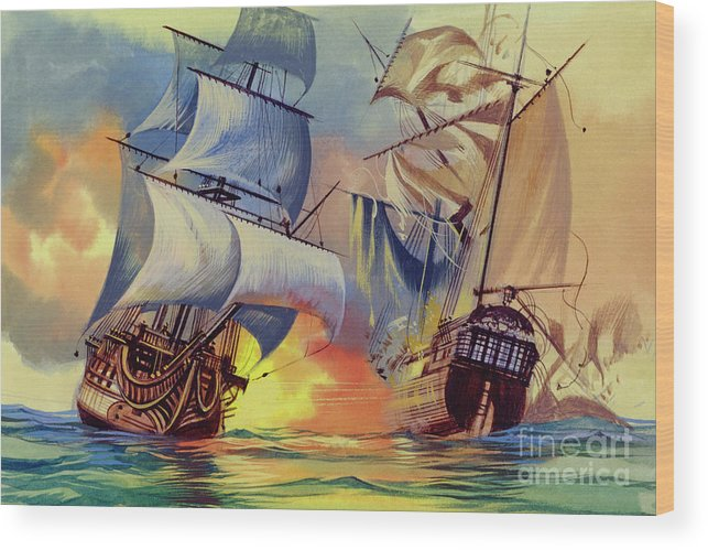History Wood Print featuring the painting Admiral Hood's Fleet In The West Indies by Ron Embleton