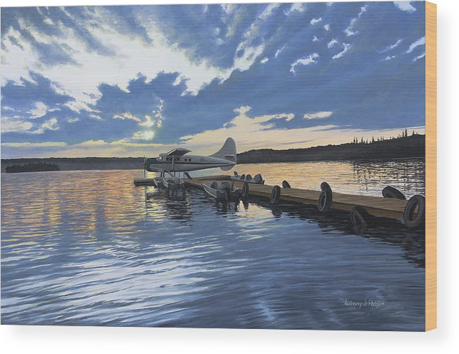 Plane Wood Print featuring the painting Adventure Awaits by Anthony J Padgett