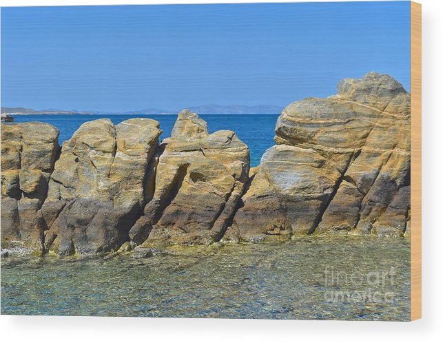 Stone Wood Print featuring the photograph Aegean Rocks by Eric Reger