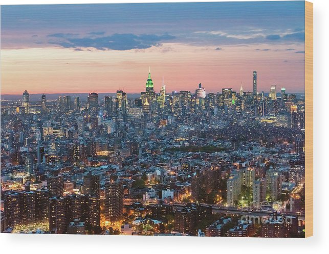 Architecture Wood Print featuring the photograph Aerial Of Midtown Manhattan With Empire State Building, New York by Matteo Colombo
