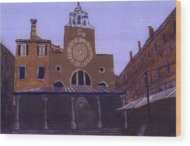 Landscape Wood Print featuring the painting After Campo San Giacometto by Hyper - Canaletto