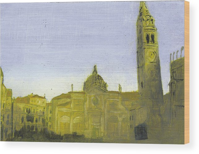 Landscape Wood Print featuring the painting After Campo Santa Maria Formosa by Hyper - Canaletto