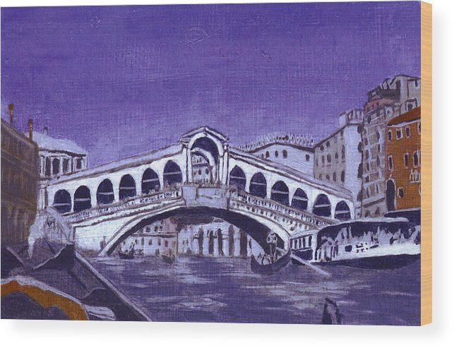Landscape Wood Print featuring the painting After Canal Grande With The Rialto Bridge by Hyper - Canaletto