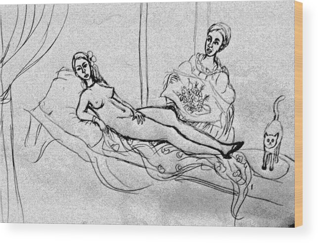 Nude Wood Print featuring the drawing After Manet by Hae Kim