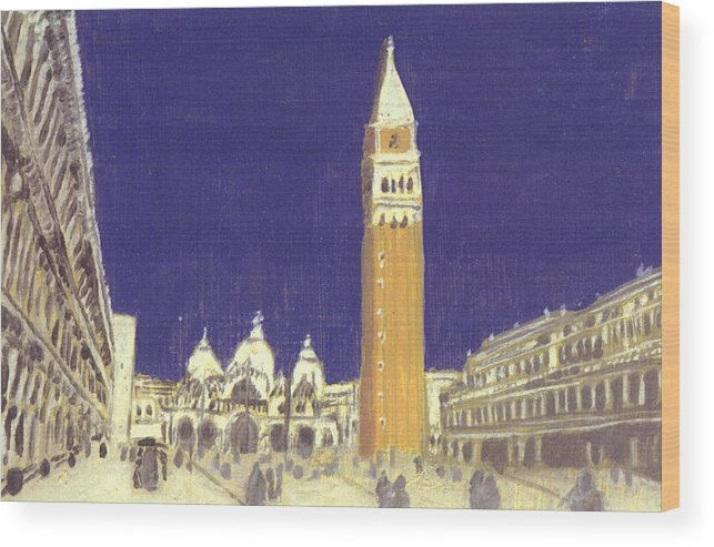 Landscape Wood Print featuring the painting After St. Mark's Square Towards The Basilica by Hyper - Canaletto