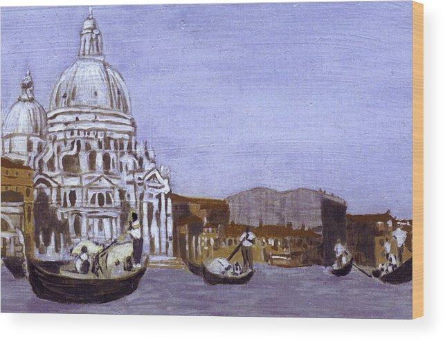 Landscape Wood Print featuring the painting After The Grand Canal And The Church Of The Salute by Hyper - Canaletto