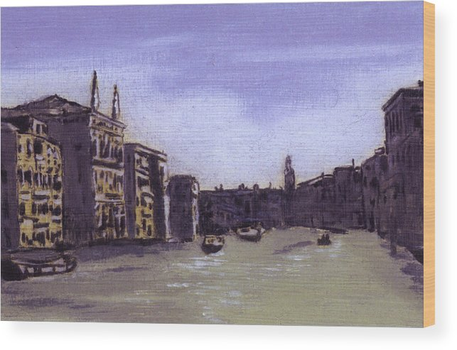 Landscape Wood Print featuring the painting After The Grand Canal From Campo San Vio Near The Rialto Bridge by Hyper - Canaletto